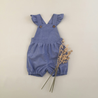 Baby girl short ruffled romper, Newborn to 6 years, Choice of fabrics
