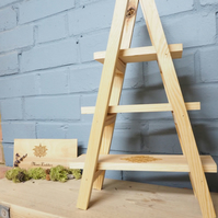 Mini Ladder shelves, handmade, reclaimed pallet, shop display.