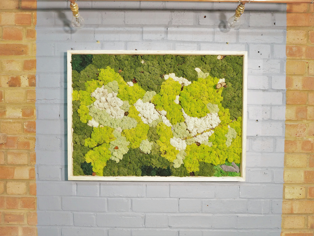 Wood Wall Art with moss- Decor Modern with Reclaimed wood & Moss Home, shop deco