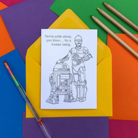 C3PO and R2D2 from Star Wars Colouring Card