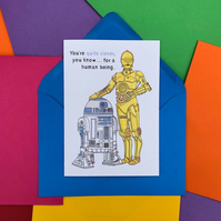 C3PO and R2D2 from Star Wars Card