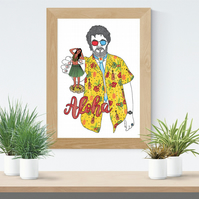 Dr Jacoby & The Hula Girl from Twin Peaks A4 Print