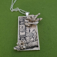 Recycled paper Winnie the Pooh origami necklace. Pooh Bear book jewellery. Handm