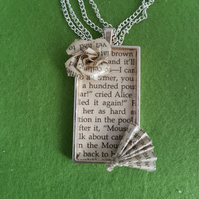 Alice in Wonderland pendant necklace, literary jewellery, eco-friendly gift, pap
