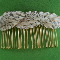 Vintage paper origami hair accessories, upcycled paper hair comb, boho book art