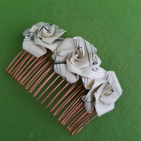 Recycled music hair accessories, unique origami rose vintage paper hair comb,