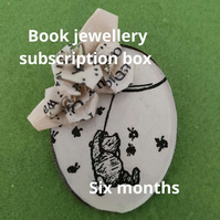 Recycled paper jewellery subscription box for book lovers. Upcycled origami jewe