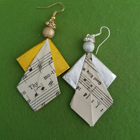 Christmas Angel earrings. Recycled paper sheet music origami earrings. Geometric