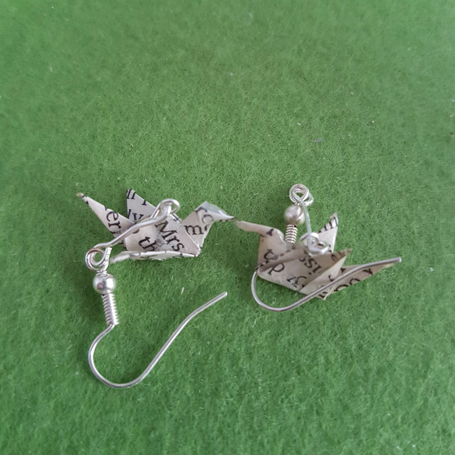 Origami, recycled paper, tiny bird drop earrings, book art, paper jewellery,