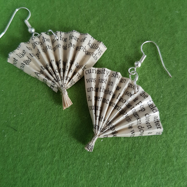 Alice in Wonderland earrings, recycled jewellery, literary gifts paper origami,