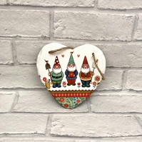 Garden Gnome Slate Hanging Heart Plaque