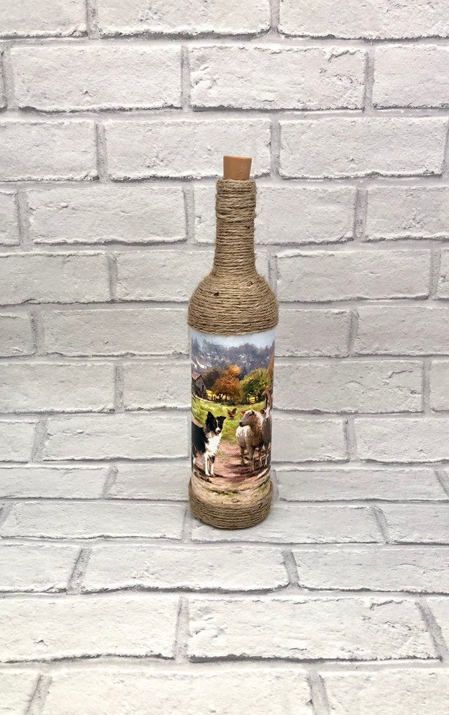 Farmyard Cottage Style Bottle Lamp