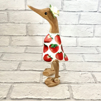 Strawberry Wooden Duck Summer Decor - Gift For Her