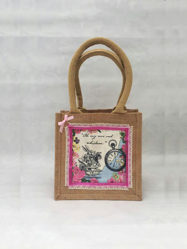 White Rabbit Alice In Wonderland Jute Bag