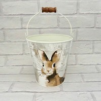 Metal Hare Easter Egg Hunt Bucket
