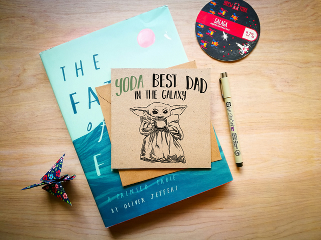 Yoda Best Dad in the Galaxy, Baby Yoda Father's Day Card, Star Wars