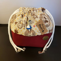 Small Alice in wonderland theme project bags & Drop spindle bags.
