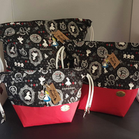 Set of 3 Alice in wonderland project bags.
