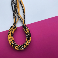 Leopard Print Crochet Necklace - Chunky Statement Jewellery - T-shirt Yarn