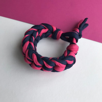 Pink and Navy Blue Crochet Bracelet - Chunky Statement Jewellery - Recycled Yarn