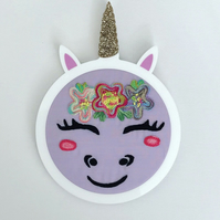 Unicorn embroidery hoop art, cute gift for girls
