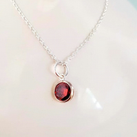 Silver Ruby CZ Necklace July Birthstone