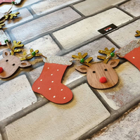 Wooden Sparkly stocking and reindeer Rudolph Christmas bunting garland 120cm