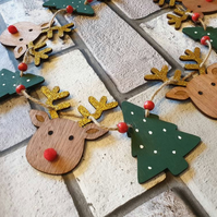 Wooden Reindeer and christmas tree Christmas bunting garland 120cm