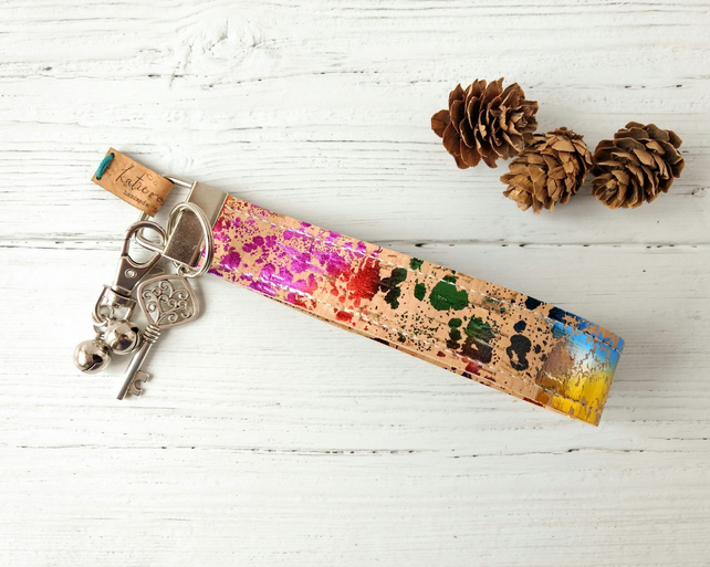 Vegan Leather Wristlet Key Fob - Cork Fabric Keychain Strap - Rainbow Keyring