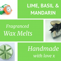 Lime, Basil and Mandarin Soy Wax Melt for use in wax & oil burners