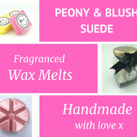 Peony and Blush Suede Soy Wax Melt for use in wax & oil burners