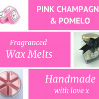 Pink Champagne and Pomelo Soy Wax Melt for use in wax & oil burners