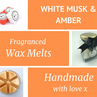 White Musk and Amber Soy Wax Melt for use in wax & oil burners