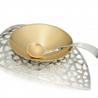 Gilded Sterling Silver Pinch Salt Bowl with Base and Gilded Spoon.