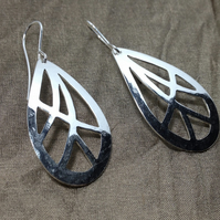 Silver Textured & Hammered Teardrop Shaped Drop Earrings