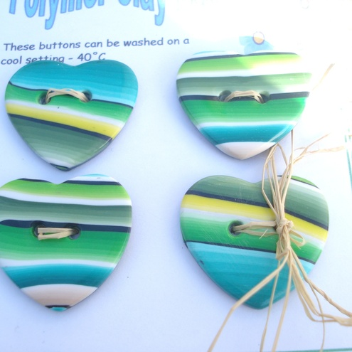 Polymer Clay Heart Buttons
