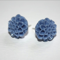 Cornflower Blue Resin Flower Earrings