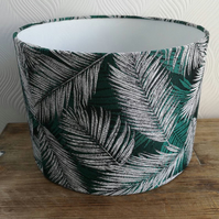 Art deco lampshade. Tropical fabric green lampshade. Palm leaf fabric lamp.