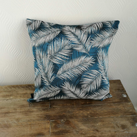 Art deco style cushion cover, blue turquoise white black, palm leaf tropical.