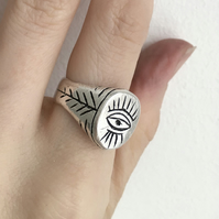 Evil eye sterling silver chunky oval signet ring