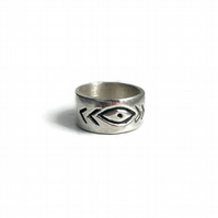 Evil Eye ring sterling silver band ring
