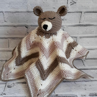 Adorable Crochet Teddy Comfort Bed time Blanket