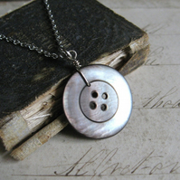 Button Beauty - Antique Shell Button, Antiqued Silver Plated Chain Necklace