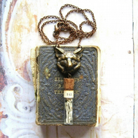 Wolf - Antiqued Brass Wolf Head, Vintage Glass Vial Necklace with Gift Box