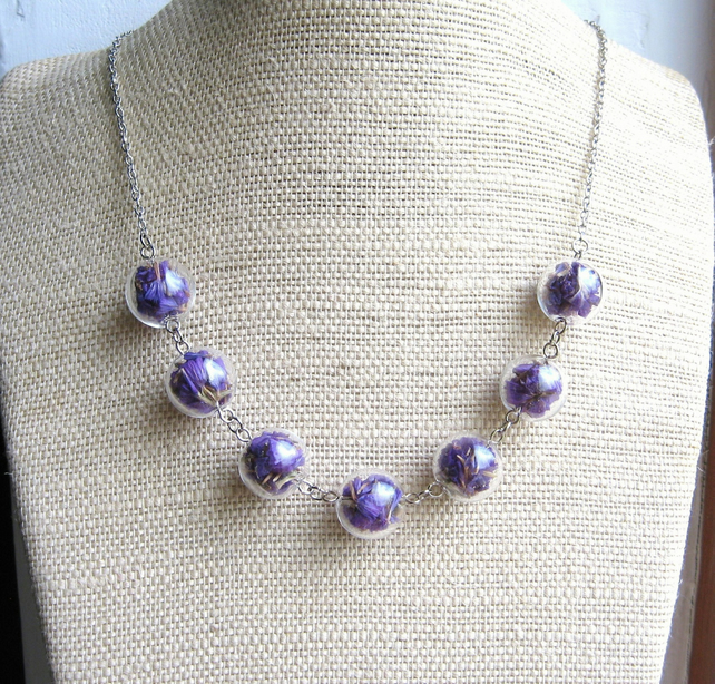 Purple Petals - Glass Hollow Bead Necklace with Dried Statice Flowers