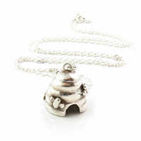 Silver beehive bell necklace with little bees on a long adjustable chain.