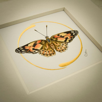 Painted Lady Butterfly painting, original artwork with gold leaf.