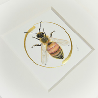 Honeybee original painting with real gold leaf.