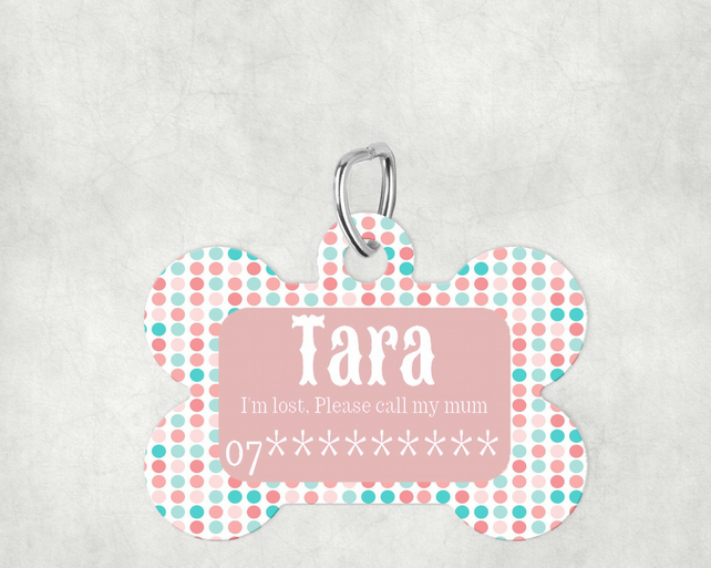 Pink Spotty Custom Pet Tag, Personalised Pet tag