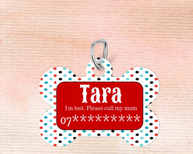 Spotty Custom Pet Tag, Personalised Pet tag makes the perfect dog collar pet tag